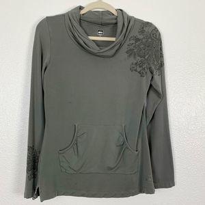 REI Embroidered Cowl Neck Long Sleeve Sweatshirt